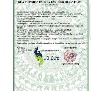 Giấy phép công bố sản phẩm Xuân Nữ Khang do Bộ y tế cấp
